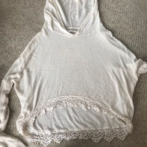 White sweater with hood